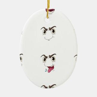 faces ceramic oval ornament