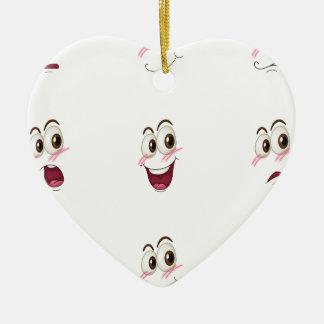 faces ceramic heart ornament