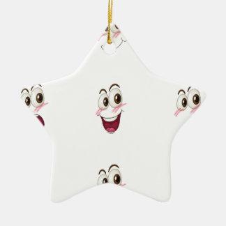 faces ceramic star ornament