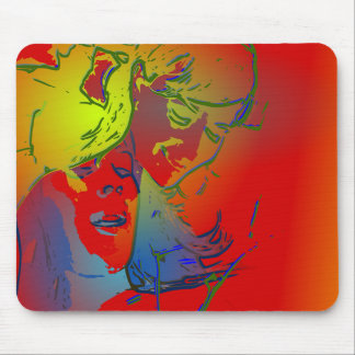 faces of people and animals cool abstract image mouse pads