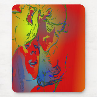faces of people and animals cool abstract image mouse pad