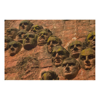 Faces On Facade Of Building Wood Wall Decor