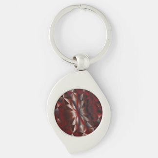 Faceted Gem Brown Garnet Silver-Colored Swirl Key Ring