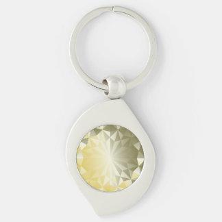 Faceted Gem Yellow Beryl Key Ring
