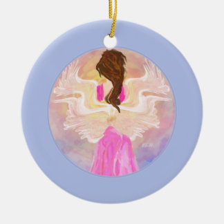 """Facing The Sun"" Angel Art Round Ceramic Decoration"