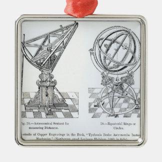 Facsimile of Copper Engravings Silver-Colored Square Decoration