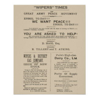 Facsimile  Pages from the Wipers Times 1917 Poster