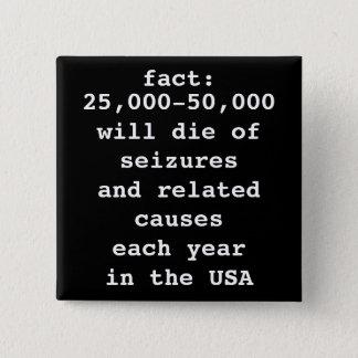 fact: # will die 15 cm square badge