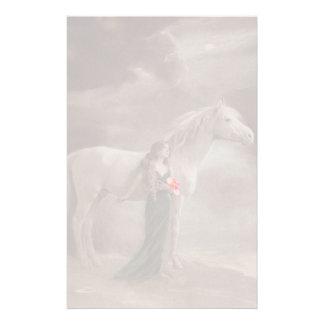Fade Lite Image Nostalgic Antique Lady & Horse pet Stationery