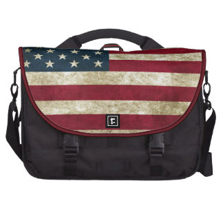 faded and grungy american flag laptop bags