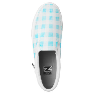 Faded aqua gingham Slip-On shoes