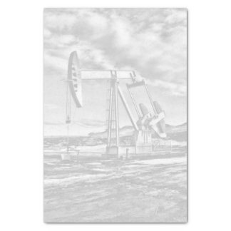 Faded Black and White Oilfield Pumping Unit Tissue Paper