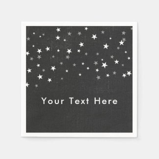 Faded Black Denim Starry Grunge Party Custom Disposable Napkin