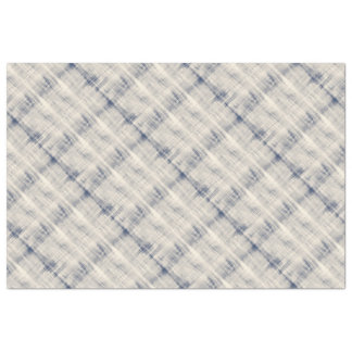 Faded Blue and White Denim Plaid Effect Tissue Paper