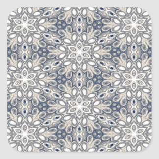 Faded Blue Floral Art Square Stickers