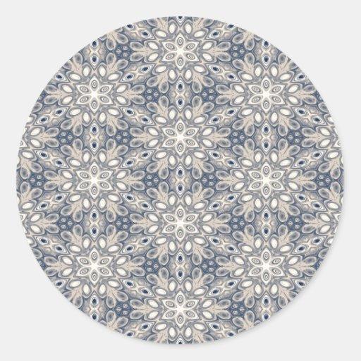 Faded Blue Floral Art Sticker