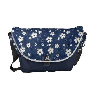 Faded Blue Floral Messenger Bag