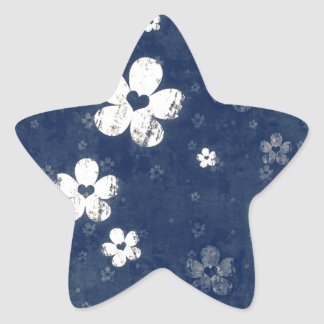 Faded Blue Floral Star Stickers