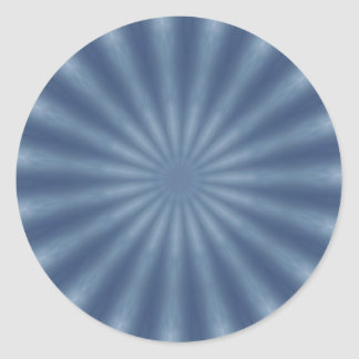 Faded blue fractal design round sticker
