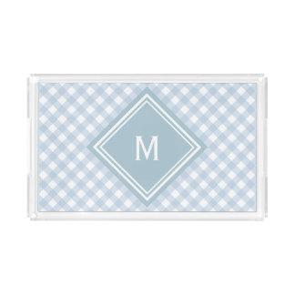 Faded Blue Gingham with Diamond Monogram Acrylic Tray