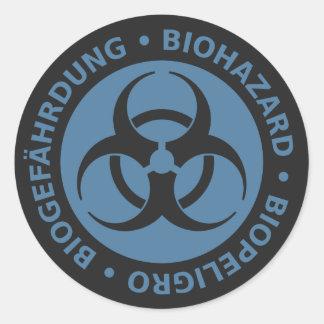 Faded Blue Trilingual Biohazard Warning Round Sticker