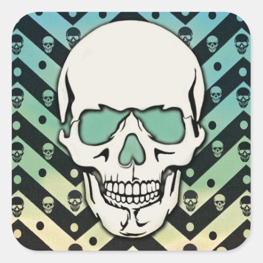 Faded chevron skull pattern square sticker