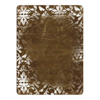 Faded Chic Brown White Vintage Damask Pattern 17 Cm X 22 Cm Invitation Card
