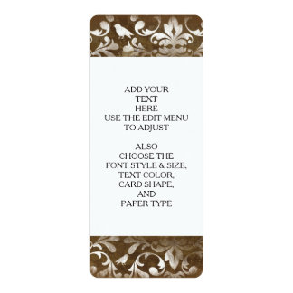 Faded Chic Brown White Vintage Damask Pattern Personalized Invite