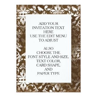 Faded Chic Brown White Vintage Damask Pattern 5.5x7.5 Paper Invitation Card