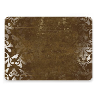 Faded Chic Brown White Vintage Damask Pattern Announcements