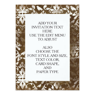 "Faded Chic Brown White Vintage Damask Pattern 6.5"" X 8.75"" Invitation Card"