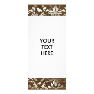 Faded Chic Brown White Vintage Damask Pattern Customized Rack Card