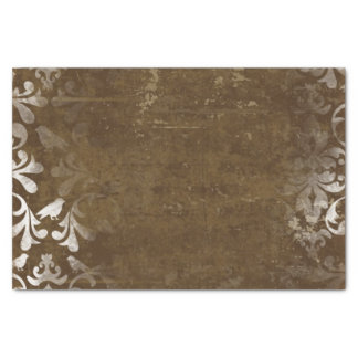 Faded Chic Brown White Vintage Damask Pattern Tissue Paper