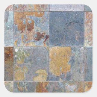 Faded chipping blue orange brick tiles square sticker