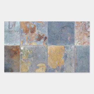 Faded chipping blue orange brick tiles rectangular sticker