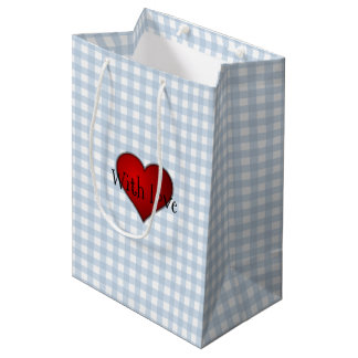 Faded Denim Blue Gingham Red heart With Love Medium Gift Bag