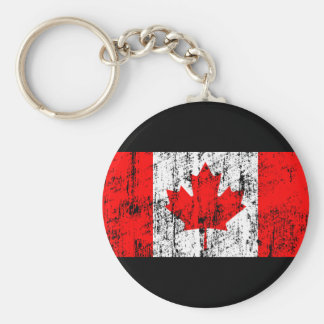 Faded Flag Of Canada Basic Round Button Key Ring