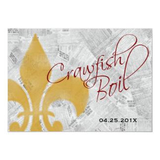 Faded Fleur de Lis Newspaper Crawfish Boil Invite