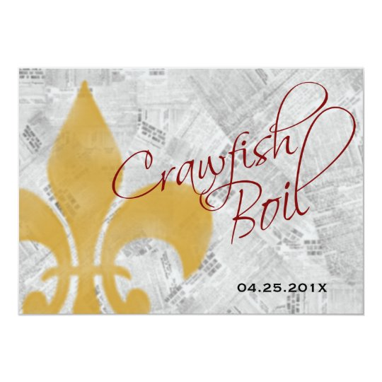 Faded Fleur de Lis Newspaper Crawfish Boil Invite