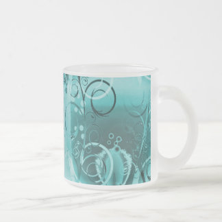 Faded Floral Swirl Teal Turquoise Blue Girly Gifts Coffee Mug