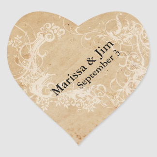 Faded Floral Wedding Heart Sticker