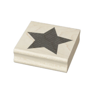 Faded Glory Denim Texture Star Rubber Stamp