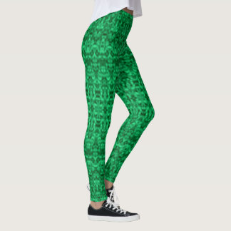 Faded Green Abstract Ikat Damask Leggings