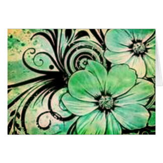 Faded Green Flowers Card