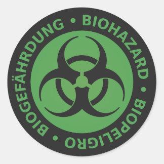 Faded Green Trilingual Biohazard Warning Round Sticker