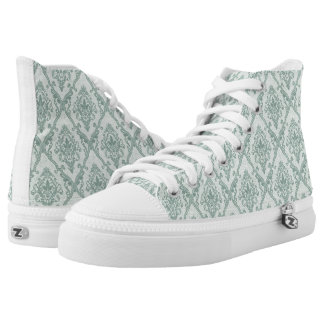 Faded green vintage damask pattern printed shoes