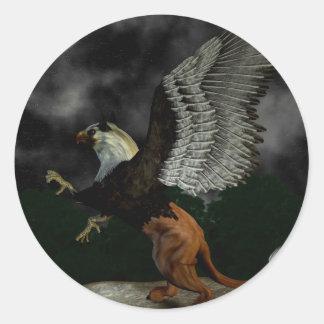 Faded Griffin Button Round Sticker