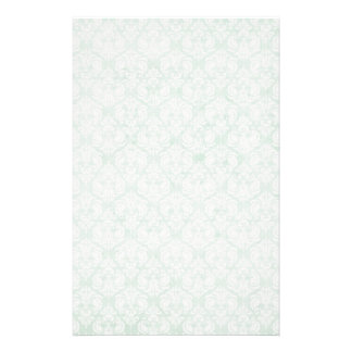 Faded Grunge Damask in Green Stationery