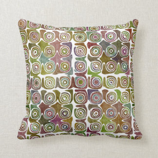 Faded Grunge Retro Swirlies & Circles Pattern Throw Pillow
