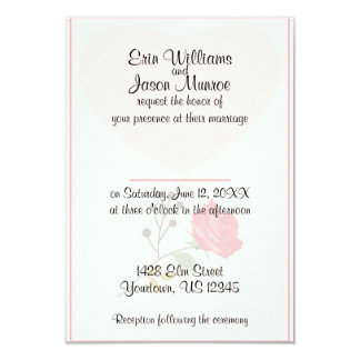 Faded Heart and Rose Wedding Invitation
